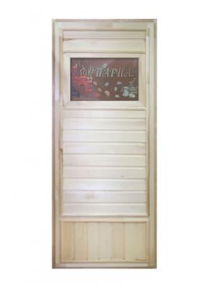 """Дверь """"Вагонка эконом"""" со стеклом Банька"""
