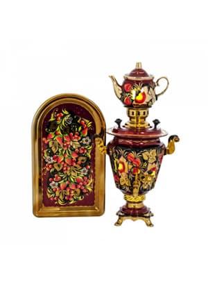 Самовар электрический 3 л в наборе, Яблоко в золотом цветке на красном фоне, конус