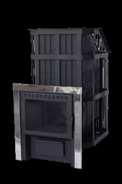 """Банная печь """"Сибирь"""" с закрытой каменкой с панорамной дверцей"""