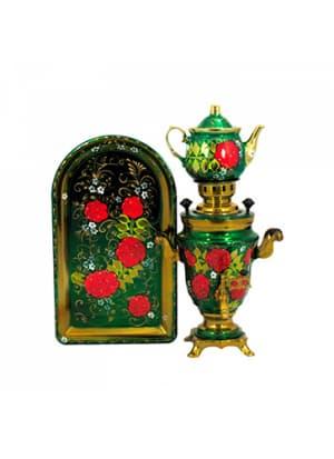 Самовар электрический 1,5 л в наборе, Рябина с беленькими цветочками на зеленом фоне