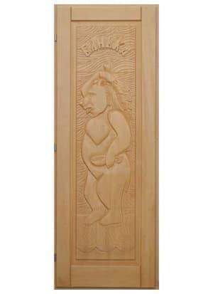 """Дверь """"Медведь"""" кавказская липа"""